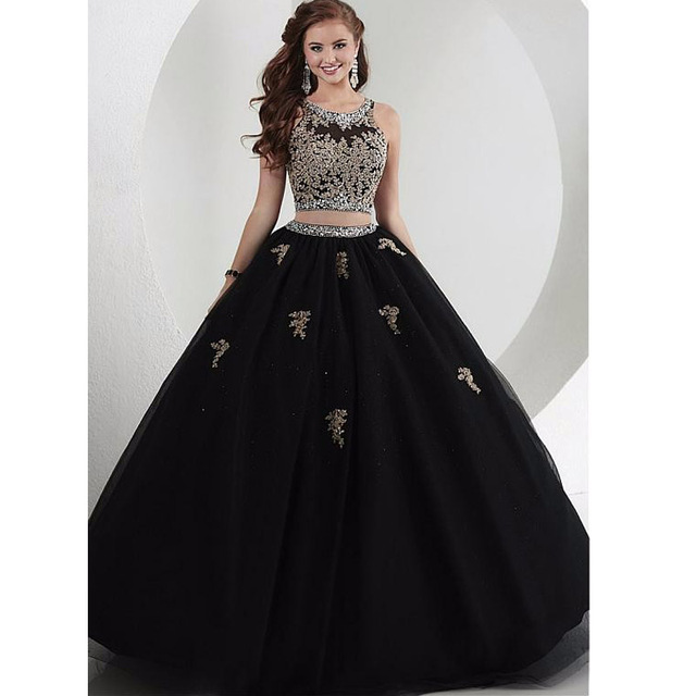 564ed5719f1 Black Two Pieces Quinceanera Dresses With Beaded Crystals Ruffles Fluffy  Sweet 16 Gowns Tulle Masquerade