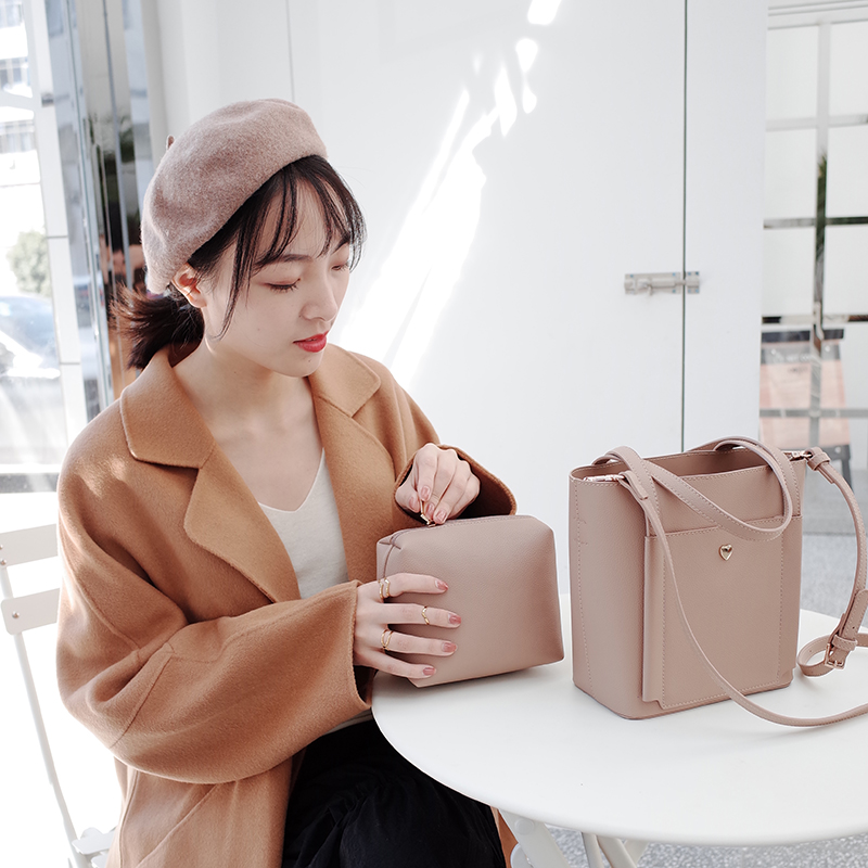 2PCS Bucket Bags For Women PU Leather Tote Handbags Big Capacity Crossbody Bag