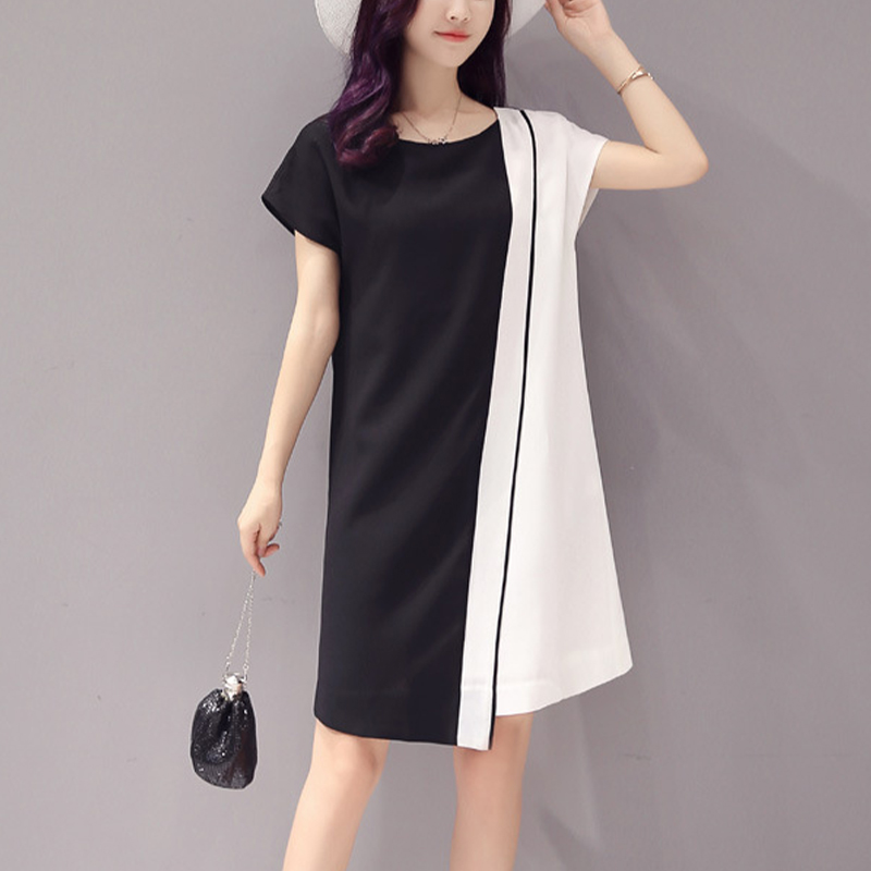 Vintage Chiffon Contrast Stitching Mini Dresses Women Sexy Short-Sleeved O-Neck Summer Dress Mid-Rise Plus Size Party Dress Lady