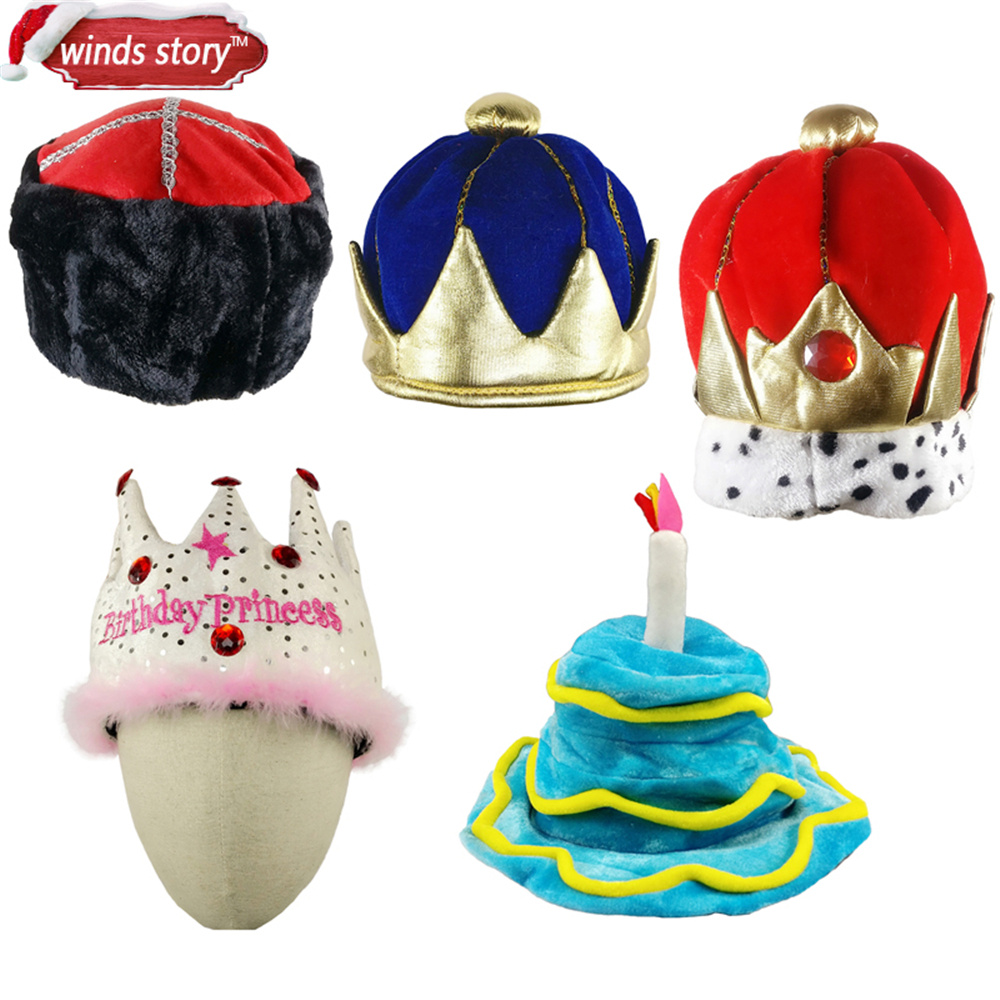 Nya 1st Boys King Crown Kids Plush Kostym Hat Royal Dress Up Kings Halloween Party Födelsedagskarneval Dekorativ mössa hatt