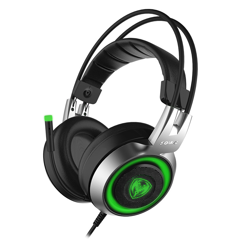 SOMIC G951 Vibration Headphone USB LED Wired Gaming Headphone Headset Gamer PC Computer Stereo Surround with Microphone sades r1 usb 7 1 surround stereo sound vibration gaming headphone with microphone led light pc gamer gaming headset for computer