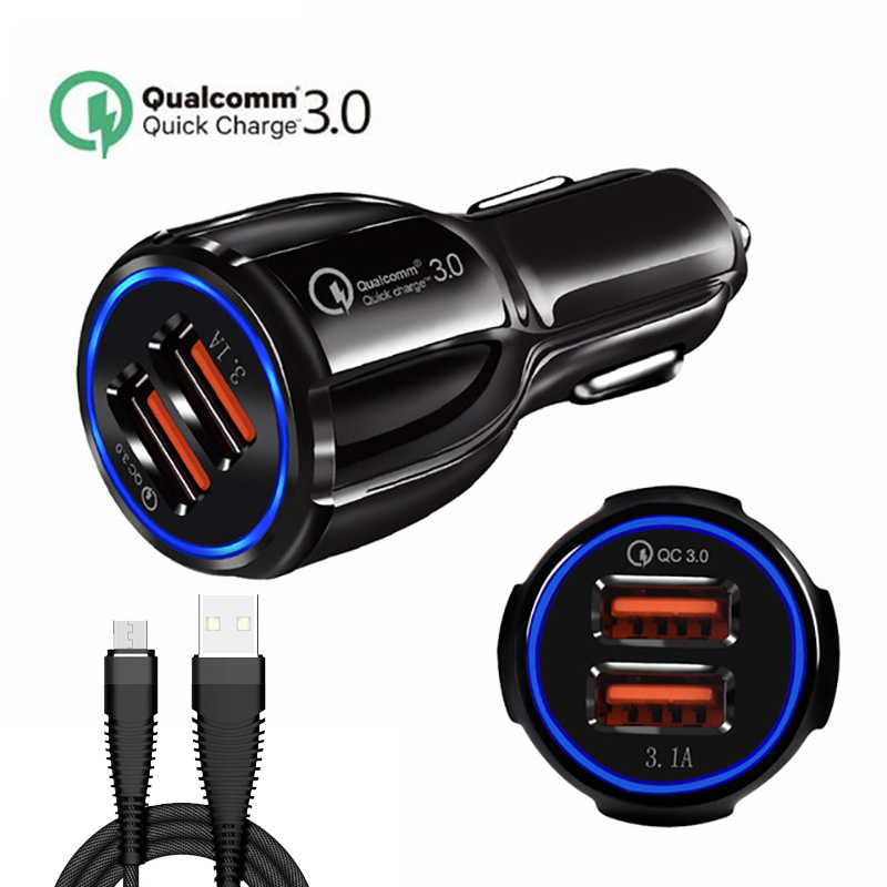 Galleria fotografica Quick Charge 3.0 For ios For Android Universal Car Charger Dual USb Car Charge Qc 3.0 Fast Charging Adapter LED Light Car Charge