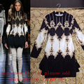 2017 New Fall Embroidery Beaded Fringe Dress Sexy Celebrity Runway Winter Handmade Jeweled Dress Baroque Vintage Dress