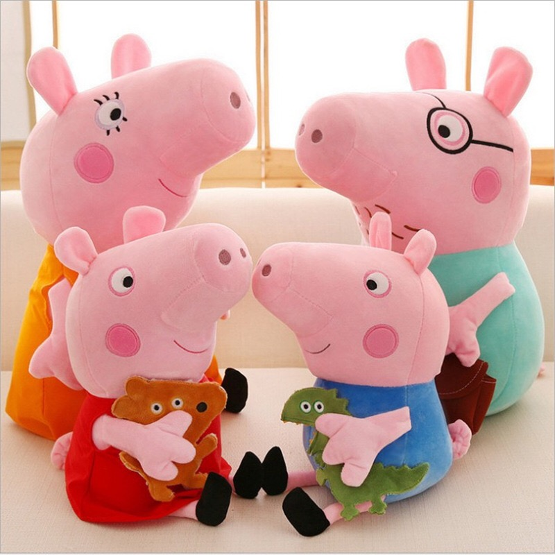 Original 4Pcs/Set Peppa Pig George Animal Stuffed Plush Toys Family Pink Pepa Pig Dolls Christma Gifts Toy For Girl Children