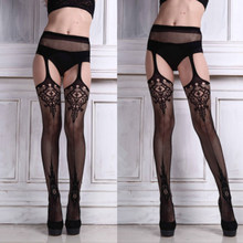 Fashion Sexy Womens Lingerie net Lace Top Garter Belt Thigh Stocking Pantyhose stocking bel Black Acrylic Hot Sale Drop shipping(China)