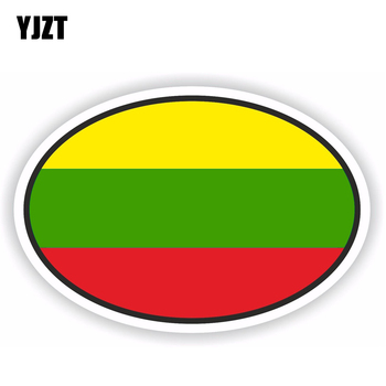 YJZT 11.8CM*8CM Creative LITHUANIA Car Sticker Benin Flag Oval Motorcycle Reflective Decal 6-1791 image