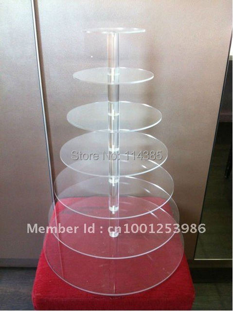 7 Tier 5mm Thick Round Maypole Clear Acrylic Wedding Party Fairy Cupcake Display Stand