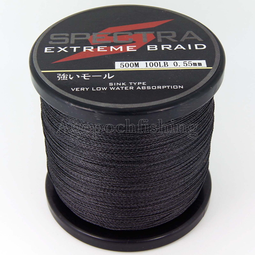 Free shipping 4 strands 500m 100lb high quality brand for Black braided fishing line