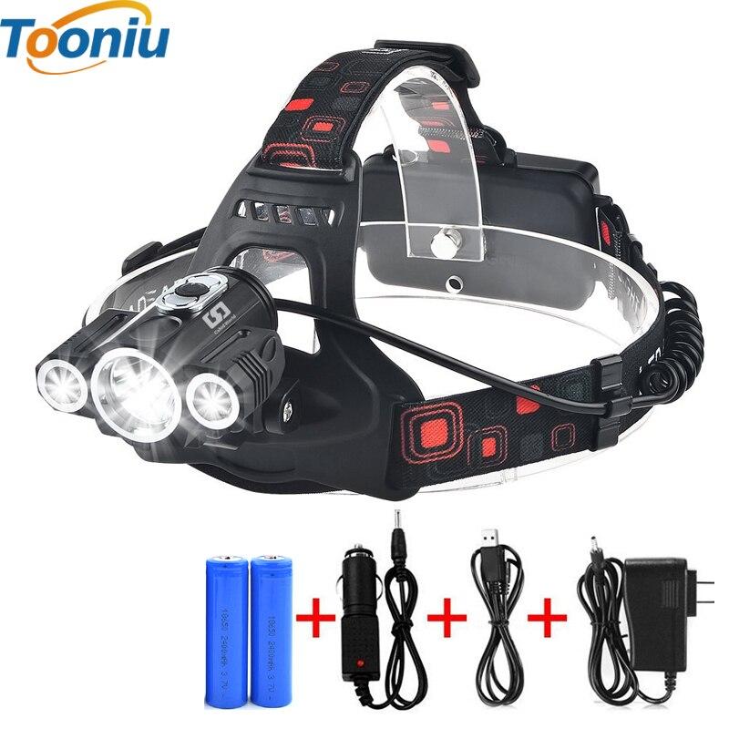 Lukturis 3x T6 3 lampas 4 regulējams režīms ūdensnecaurlaidīgs 6000 lūmeni LED lukturis lukturītim automašīnas lādētājs uzlādējams baterijas lukturis