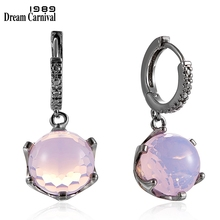 DreamCarnival1989 Hot Selling Football Cut Cubic Zircon Earrings for Women Pink Color Crown Design Prong Dangle Jewelry WE3819PN