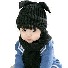 2018 New Autumn Winter Baby Hat Infant Girls Boys warm Caps Baby Child Hats Kawaii Knitting Puppy Cap Scarf 2 Piece Set(China)