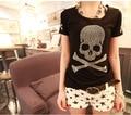 2016 new Plus Women Clothing T shirt Female Short Sleeve Cotton Diamond Skull T shirt Women