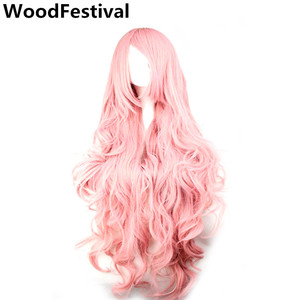 Image 1 - WoodFestival 100 cm Cosplay Wig Pink Yellow Purple High Temperature Fiber Heat Resistant Long Wavy Synthetic Wigs for Women