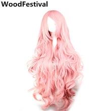 WoodFestival 100 cm 코스프레 가발 핑크 옐로우 퍼플 고온 섬유 내열성 긴 물결 모양의 합성 가발 여성을위한