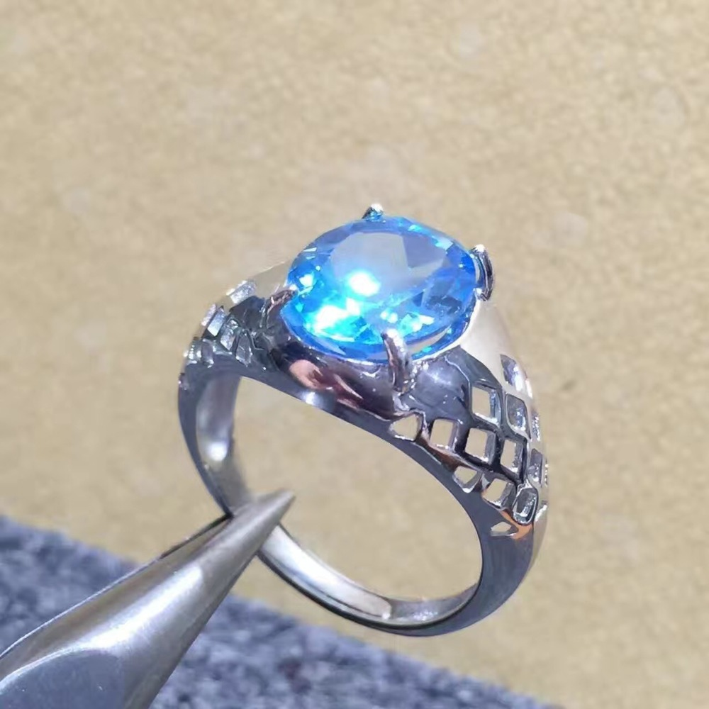 Real And Natural Blue Topaz Ring Man ring Free shipping 925 sterling silver 9*11mm gem For men Fine handworked jewelry Real And Natural Blue Topaz Ring Man ring Free shipping 925 sterling silver 9*11mm gem For men Fine handworked jewelry