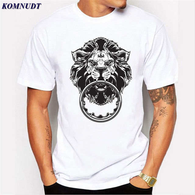 KOMNUDT Popular Lion 3D Print Design Cool White T Shirt Hot ...