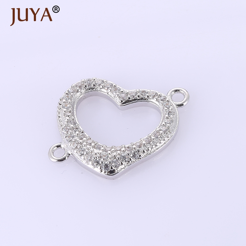Hand made diy jewelry findings accessories rhinestone hollow heart connector charms for making women fashion jewelry components