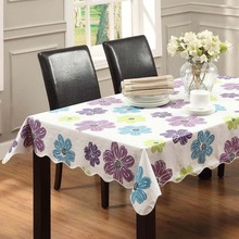 Flower Style Table cloth Waterproof & Oilproof Wipe Clean Vinyl+Flannel Tablecloth Dining Kitchen Cover