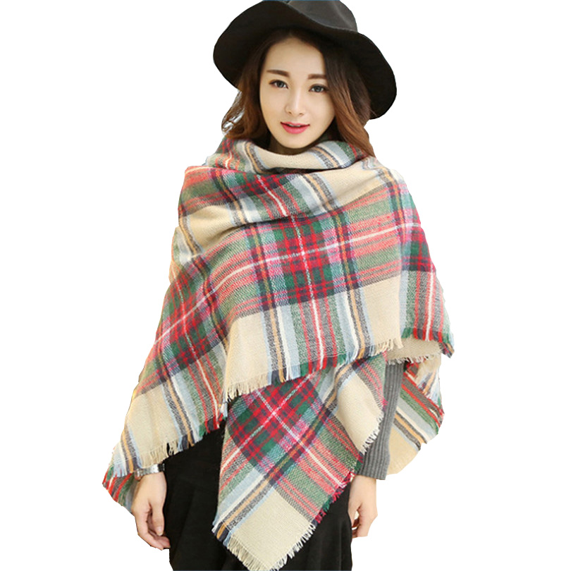 Winter Warm Cashmere Scarves Women Luxury Sciarpe Seta Plaid Blanket Oversized Wraps Bufandas Women Pashmina Shawls Brand J051