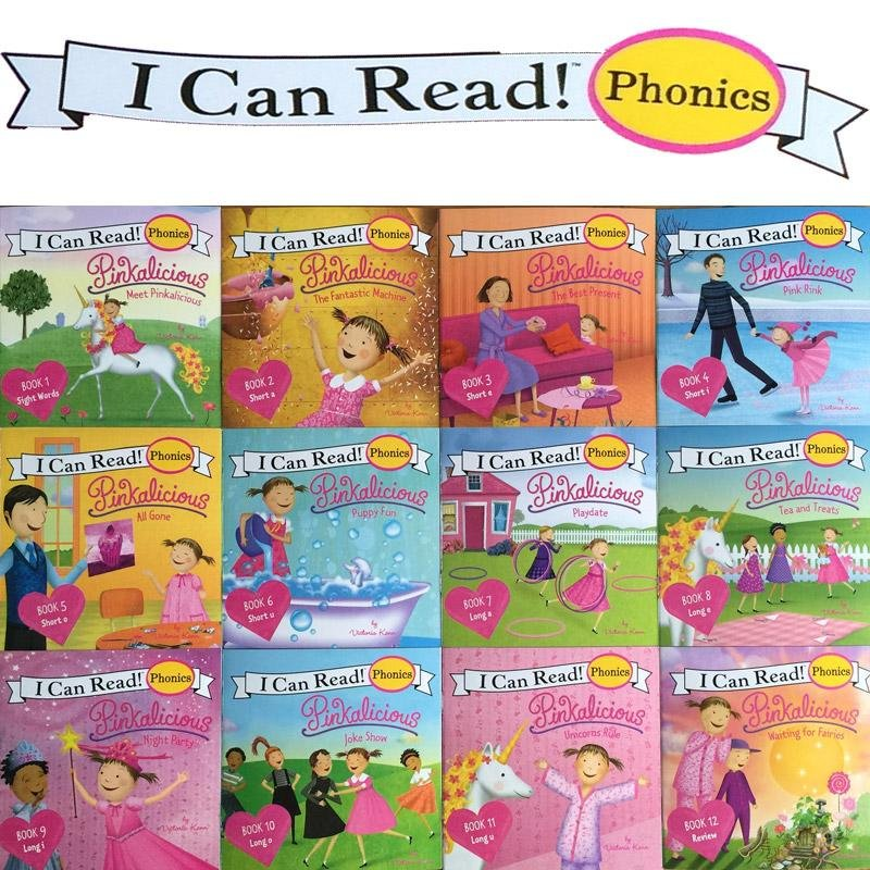 12books/set I Can Read Phonics Pink Alicious My Very First Picture Books English Book For Children Kids Baby Pocket Story Book