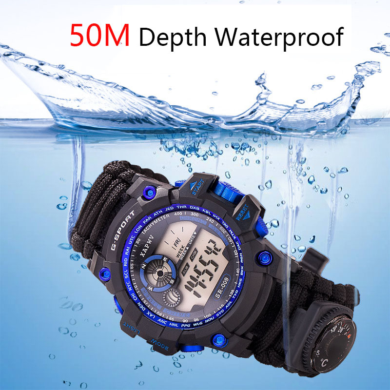 Survive Outdoor Sport Watches Men Emergency with Night Vision Men Digital Watches Compass Whistles Sports Wrist Watch Mens 2019 (2)
