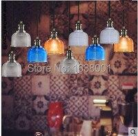 Candy colored Crystal Glass Shade Chandelier Single Head Light Scandinavian Modern Restaurant Bar Creative Fashion Lamp