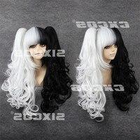 Danganronpa Dangan Ronpa Monokuma Long White Black Ponytails Curly Wig Heat Resistant Hair Cosplay Costume Wigs + Free Wig Cap