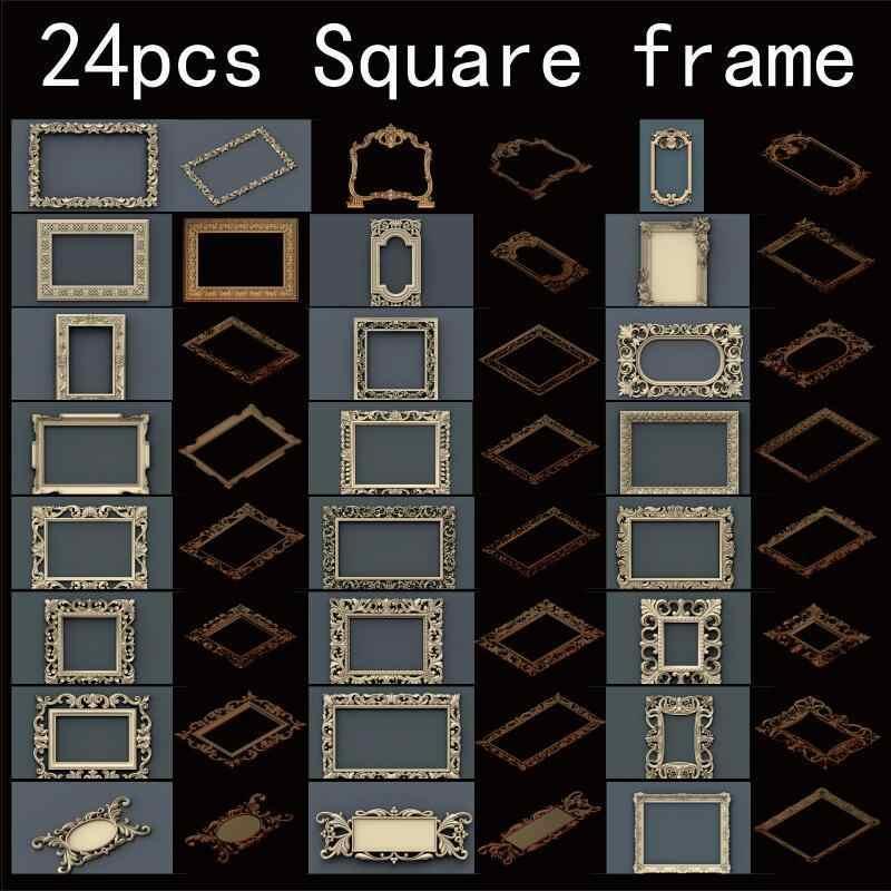 24 unids/set marco cuadrado 3d modelo STL alivio para cnc formato STL marco 3d alivio modelo STL Router 3 eje grabador ArtCam