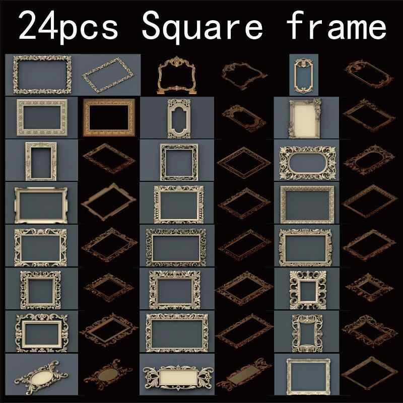 24 unids/set marco cuadrado 3d modelo STL relieve para cnc formato STL marco 3d relieve modelo STL Router 3 axis Graver ArtCam