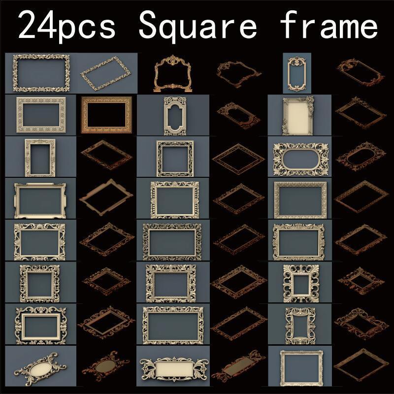 24pcs/set Square frame 3d model STL relief for cnc STL format frame 3d Relief Model STL Router 3 axis Engraver ArtCam