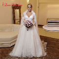 Fashion Wedding Dresses 2017 A-line Full Sleeve V-neck Tulle with Applique Beading Button Back Long robe de mariee Custom Made