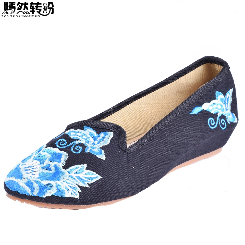 Chinese Women Flats Shoes Pointed Toe Old Beijing Canvas Butterfly floral Embroidered Single Slip On Dance Ballet Flat women flats old beijing floral peacock embroidery chinese national canvas soft dance ballet shoes for woman zapatos de mujer