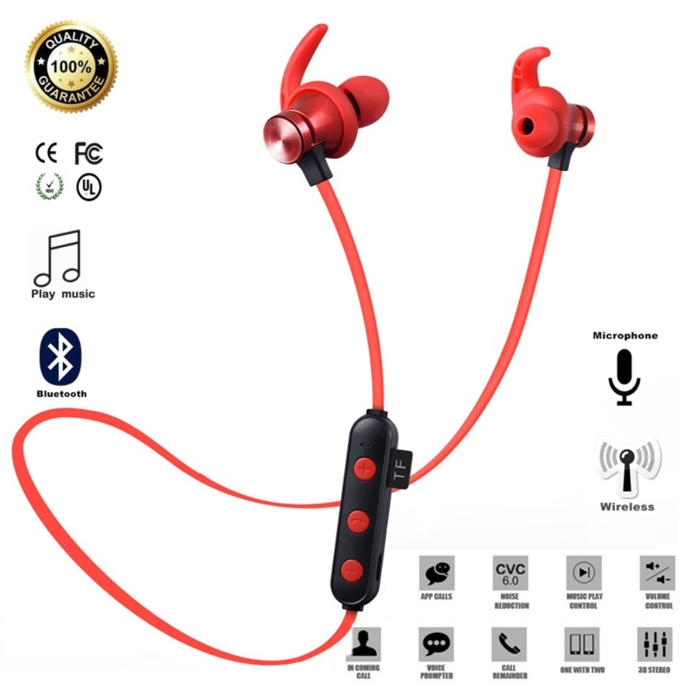 Magnetic Attraction Bluetooth 5.0 Earphone Headset Waterproof Sports with Charging Cable Earphone Build-in Mic for Phone