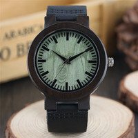Relogio Masculino Wooden Watches Men Genuine Leather Band Strap Casual Bamboo Pattern Nature Wood Novel Wristwatch