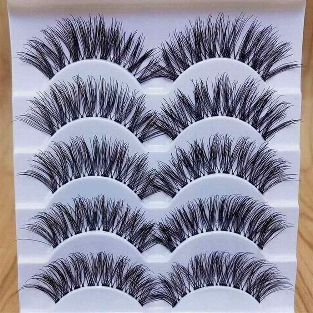 5 Pairs Makeup Handmade Natural Long Volume False Eyelashes Lashes Extensions Eyelashes Artificial Eyelash Practice