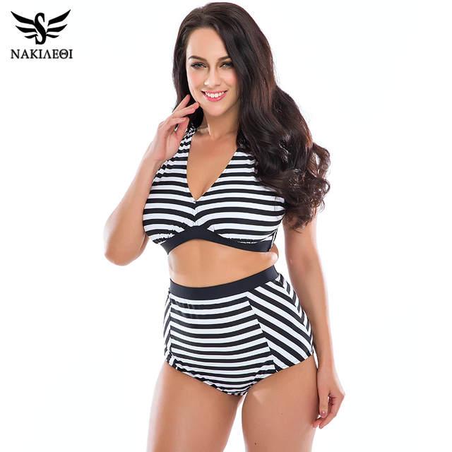 480a35315cd6 NAKIAEOI Plus Size Swimwear Mulheres Maiô 2019 Novos Biquínis de Cintura  Alta Maiôs Retro da Cópia Floral Bikini Set Swim Wear 5XL em Conjunto  biquínis de ...
