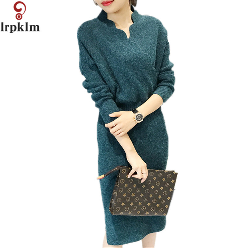 Fashion Long Sleeve V Neck Sexy Club Women Dress Slim Bodycon Knitted Sweater Knee-Length Party Night Dresses LZ260 v neck layered long sleeve pullover sweater
