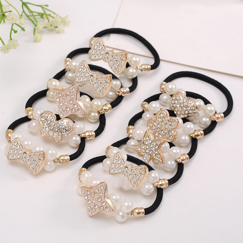 Fashion Women Girls Pearl Ponytail Holder Crystal Hair Ties Rope Hairband Elastic Hair Bands flower Hair Accessories 10Styles in Hair Jewelry from Jewelry Accessories