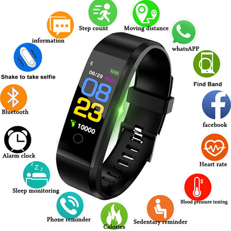 2019 Smart Band Men Women Heart Rate&Blood Pressure Wristband Fitness Bracelet Calories Sports Watches for Android pk fitbits(China)