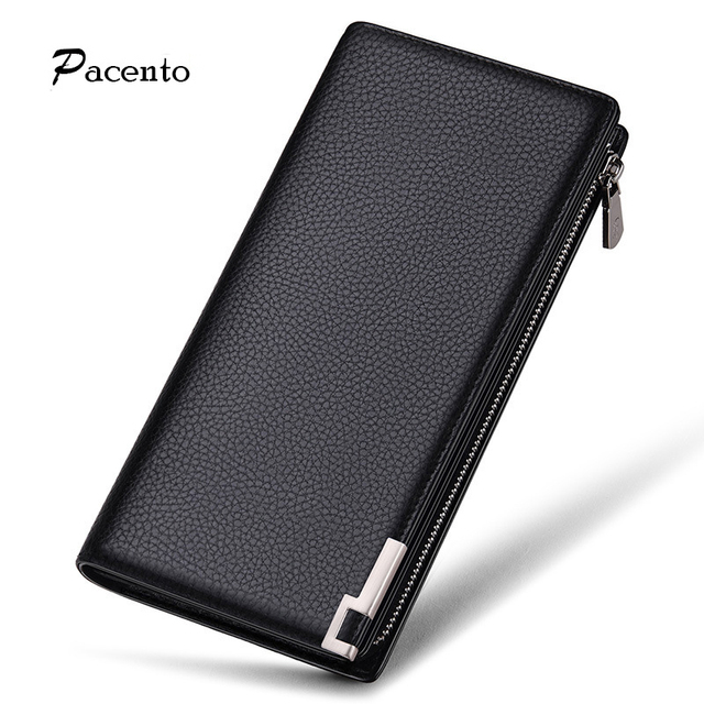 2017 Men's Wallets Famous Luxury Brand Genuine Leather Wallet Bag Men Purse Black Long Male Purses High Quality Wallet