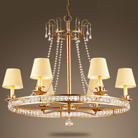 American Village Dining Room Chandelier Lamp Mediterranean Creative French Vintage Wrought Iron European Bedroom Crystal Lamp