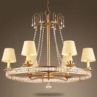 American Village Dining Room Chandelier Lamp Mediterranean Creative French Vintage Wrought Iron European Bedroom Crystal Lamp