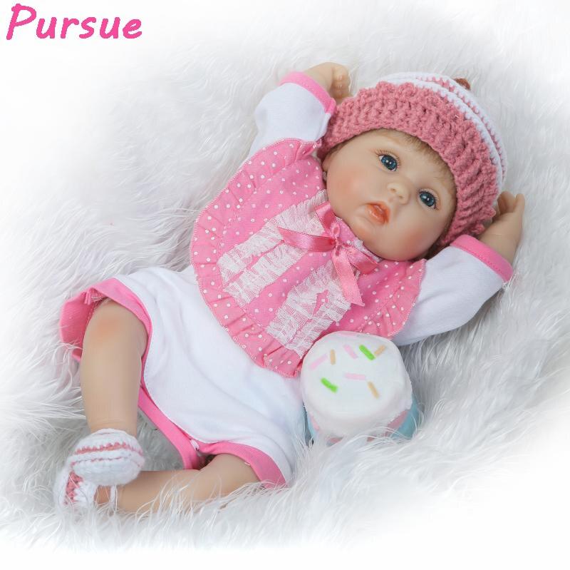 Pursue 17/43cm Pretty Cute Realistic Reborn Baby Dolls Soft Vinyl Silicone Reborn Babies Lifelike Newborn Gift Doll (Blue Eyes)