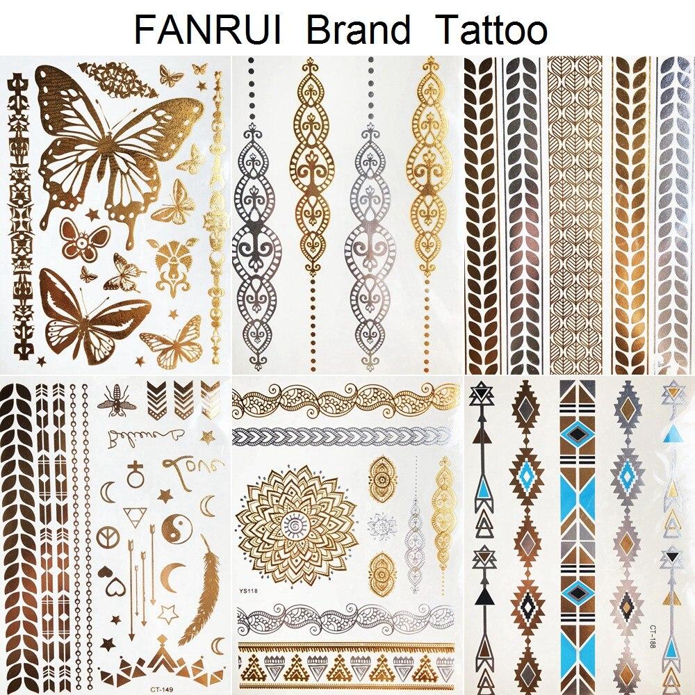 Tattoo & Body Art Professional Sale Golden Metallic Bracelet Temporary Tattoo Henna Mandala Flower Girl Tattoo Stickers Indian Chain Women Arm Flash Fake Tatoos