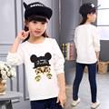 2017 Spring Baby Girl Casual Style T-shirt Lovely Cat Print Kid O-neck Cotton Top Tees Children Pullover Long Sleeve Clothes
