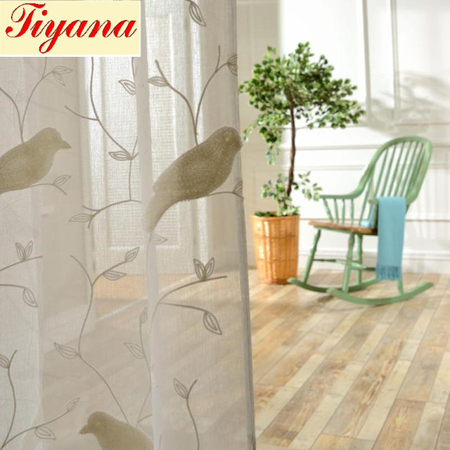 Lovely Bird Pattern 3D Embroidery Drape Sheer Curtain fabric Tulle Voile  FG26