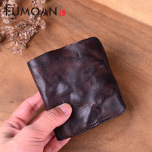 EUMOAN Simple retro first layer leather wallet men and women handmade original short clip ultra-thin pleated walle