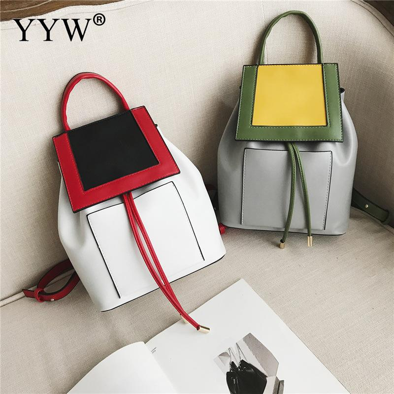 Fashion Women Backpack Leather school bags for teenage girls Patchwork mochila escolar feminina