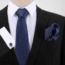 Men Tie for Wedding Party New Design 7.5cm Dot Set Jacquard Woven Necktie Gravata Hanky Cufflinks