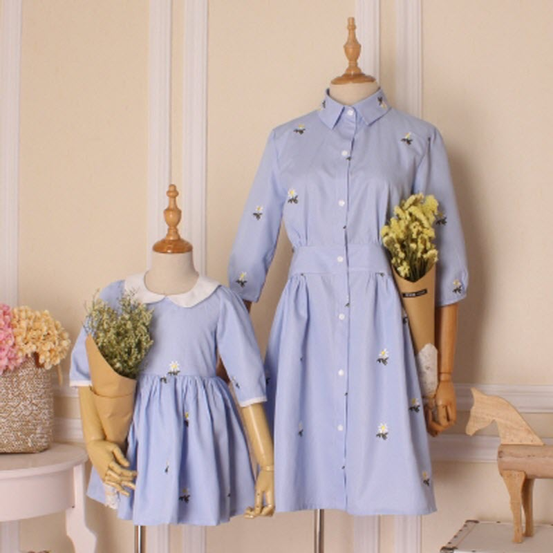 children clothes girl family matching clothes mother and daughter Clothes Casual Dress Femininas Vestidos Embroidery small daisy женские блузки и рубашки waqia 2015 cueca camisas femininas vestidos vestidos blusas femininas s xxl